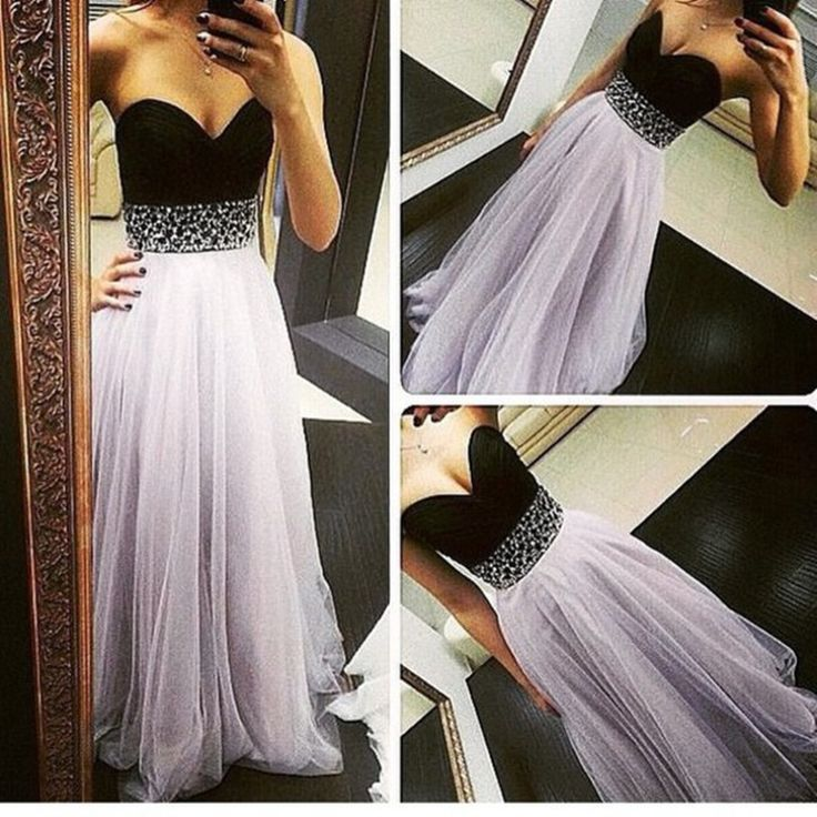 High Quality, Light Lavender Tulle Skirt, Black Bodice, Sweetheart Prom Dresses, For Teens, Bedazzle Gowns Dresses
