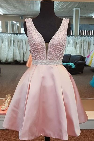 UHC0201, Stylish pink, V neck, short prom dress, sequins homecoming dress