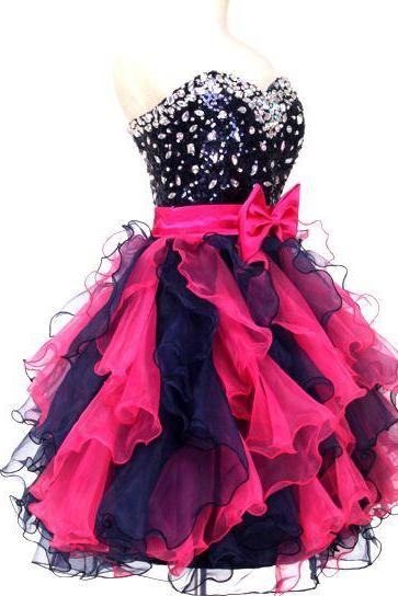 Short, Red & Black, Frills Women's Dress, Bridesmaids Prom Party, Beading Crystals, Sweet