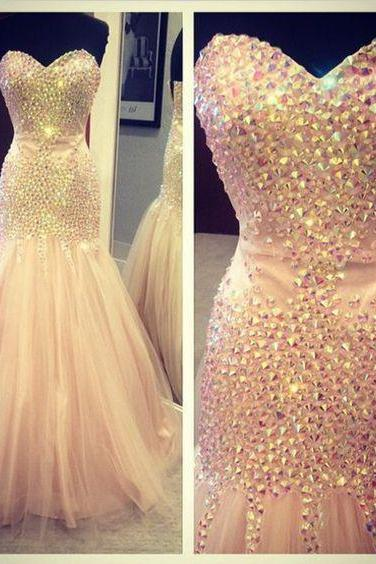2016 Beading Evening Dresses,Sweetheart Floor-Length Prom Dresses, Real Made Evening Dresses,Tulle Sequins Evening Dresses, Charming Evening Dresses, Evening Dresses On Sale