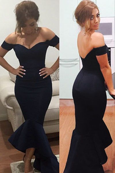Off Shoulder Prom Dress,Navy Blue Prom Dress,Mermaid Prom Dress,Long Evening Dress