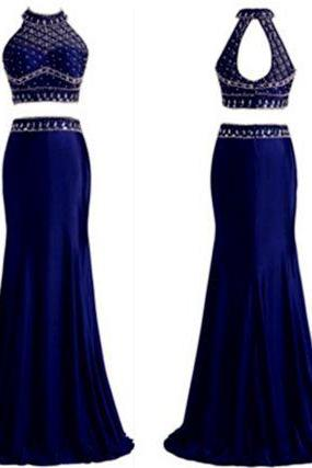 Upd0057, Two Pieces, Long Dress, Beaded Bodice prom dresses,,evening gowns,,2 pieces prom gowns,royal blue prom gowns,new style fashion prom gowns