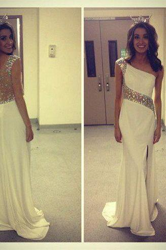 Upd0074, Young Girls, One Shoulder, Ivory, Side Split , Mermaid, Sexy, Long Prom Dresses