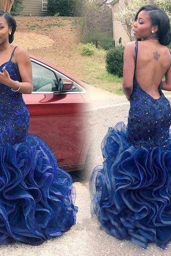Upd0089, Royal Blue, Mermaid prom dresses ,backless evening party dresses, long 2017, open back