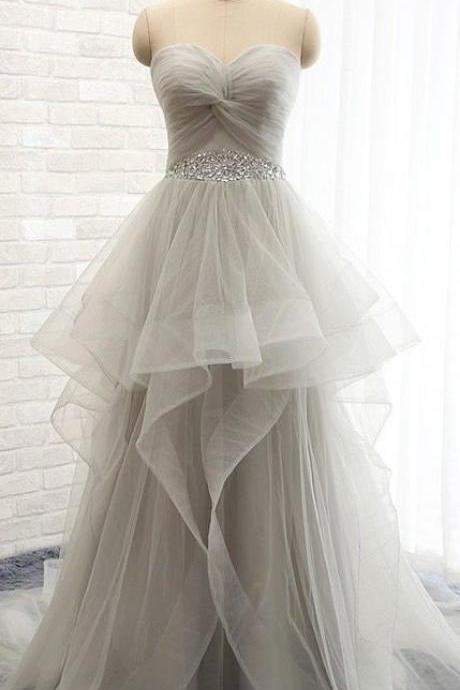 Upd0120, Fashion, Long, Tulle Prom Dresses, Evening Dresses, Party Dresses, sweetheart, high-low prom dresses