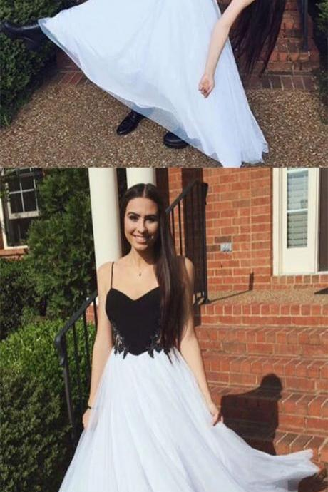 Upd0131, Black and White Prom Dresses,Simple Evening Dresses,A Line Prom Dresses, spaghetti strap prom dresses