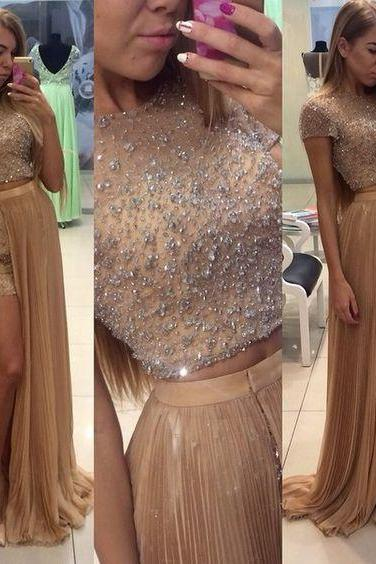 Upd0140, 3 pieces prom dresses, champagne evening dresses, with beads homecoming dresses, split side prom dresses