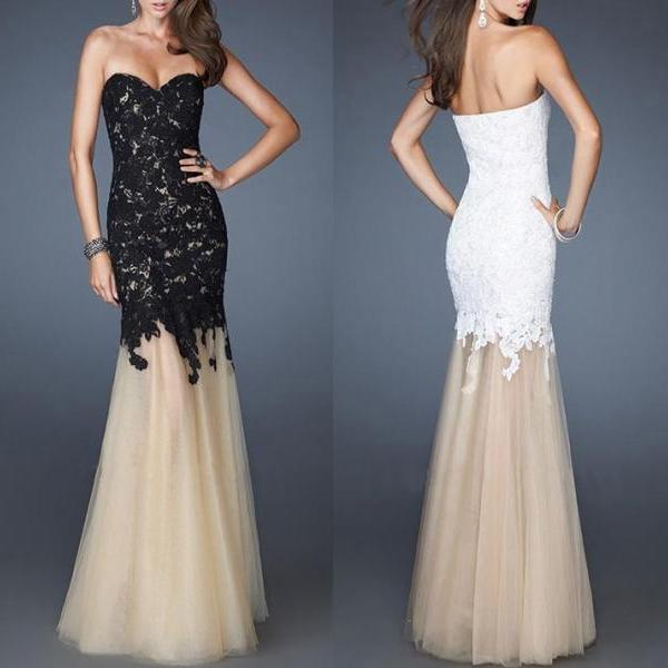 Black and White Long Prom Dresses Sweetheart Chiffon Sequins Party Gowns Lace Prom Dress