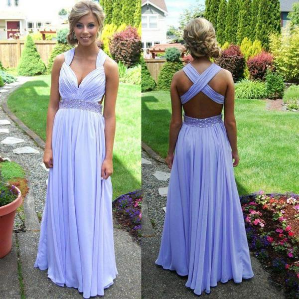 Sexy Open Back Long Prom Dresses Cross Back Chiffon Party Gowns Prom Dress