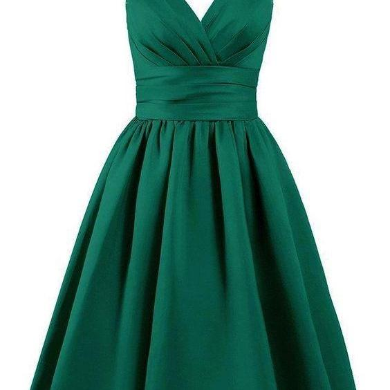Emerald Green Satin Knee Length A-Line Evening Dress featuring Plunge V Bodice